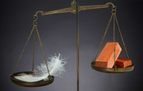 Scale measuring brick and feather